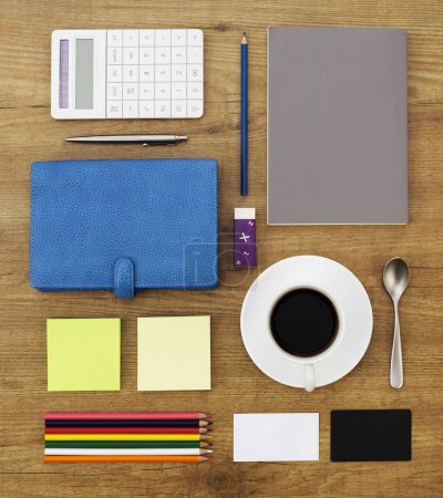 Photo for Office supplies on desk from above - Royalty Free Image