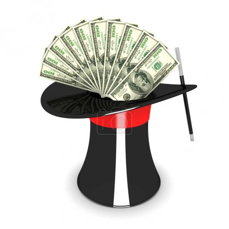 Photo for Magic hat and dollars - Royalty Free Image