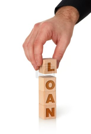Photo pour Travail de prêt sur cubes en bois, fond blanc - image libre de droit