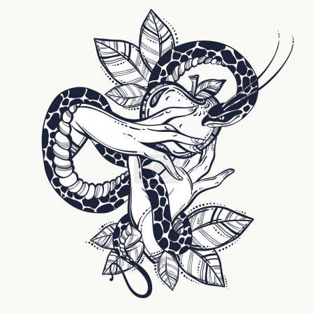 Illustration pour Les mains d'Eve avec des fruits et un serpent interdits. Tatouage dessiné à la main. Élément d'une histoire biblique d'Eve. Art vectoriel isolé vintage - image libre de droit
