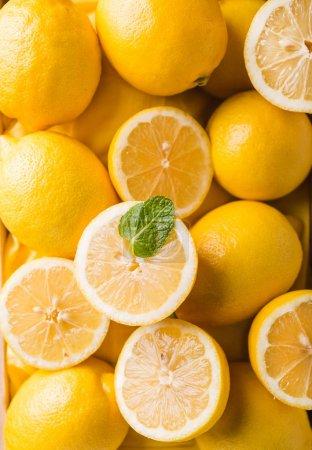 lemons and mint leaf closeup