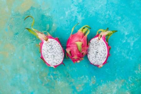 Pitahaya fruit on turquoise background