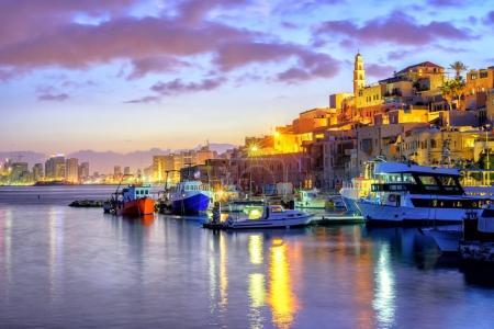 Yafo old town port on sunset, Tel Aviv, Israel