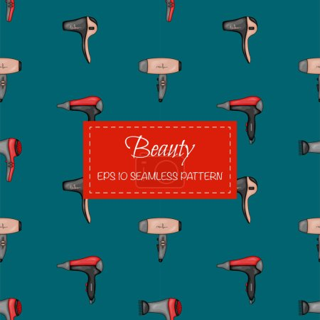 Illustration for Beauty seamless pattern with hair dryer. Cartoon style. Vector illustration - Royalty Free Image