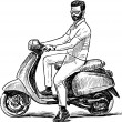Vector drawing of a man rides a motorcycle....