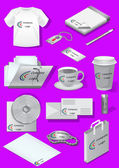 Mock-up for business or company and logo. Set of isolated objects. Vector illustration.
