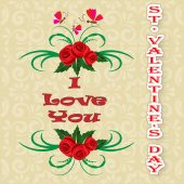 Greeting card Happy Valentine's Day flowers, motels and vintage inscription I love you