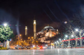 Night view of the Hagia Sophia is a historic temple in Istanbul. Turkey