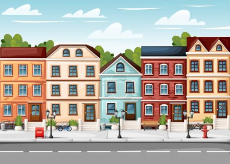Illustration for Street with colorful houses fire hydrant lights bench red mailbox and bushes in vases cartoon style vector illustration website page and mobile app design. - Royalty Free Image