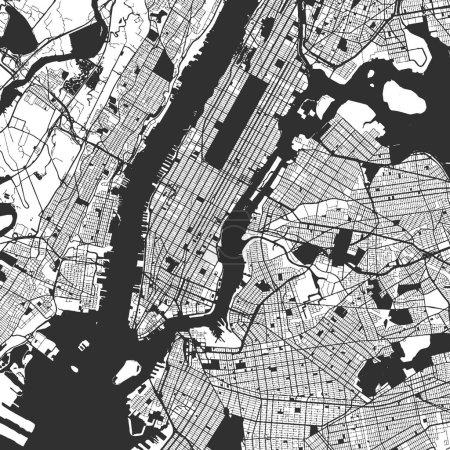 New York City Manhattan One Color Map