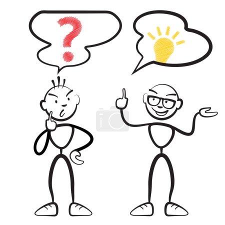 Illustration pour Stick figure questionnaire et idée persona, Stickman vecteur dessin sur fond blanc - image libre de droit