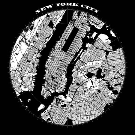 New York City Manhattan Compass Design Map