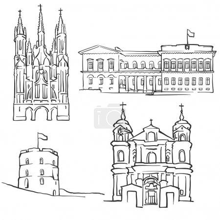Illustration pour Vilnius Lituanie Bâtiments célèbres, Monochrome bordés de points de repère de voyage, Illustration vectorielle évolutive - image libre de droit