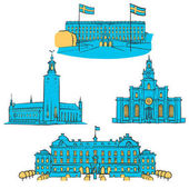 Stockholm Colored Landmarks Scalable Vector Monuments Filled with Blue Shape and Yellow Highlights