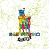 San Marino Travel Secrets Art Map for mapping experts and travel guides Handmade city logo typo badge and hand drawn vector image on top are grouped and moveable