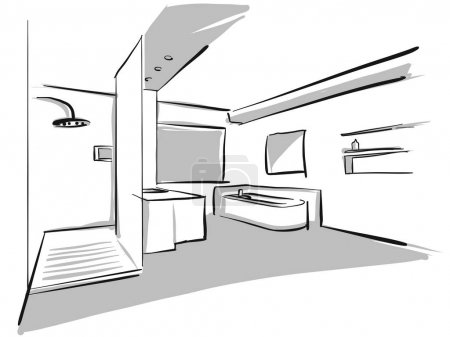Illustration for Interior bad design sketch. Concept Illustration, Hand drawn vector image. - Royalty Free Image