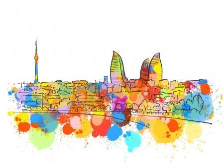 Illustration for Baku Azerbaijan Colorful Landmark Banner. Beautiful hand drawn vector sketch. Travel illustration for social media marketing and print advertising. - Royalty Free Image
