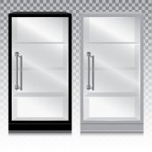 Empty glass cabinet with the door handle on transparent background