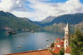 Montenegro. View of Bay of Kotor, small islands and Perast town