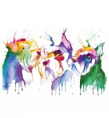 Colored portrait of dog in pop art technique