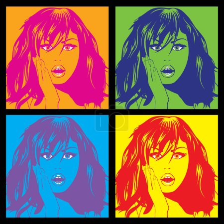 colorful Pop Art Woman pattern.