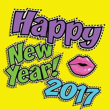 """comics icon """"Happy New Year 2017"""""""