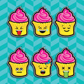 Pop art fashion CUPCAKE EMOJI chic patches badges pins and stickers set vector illustration