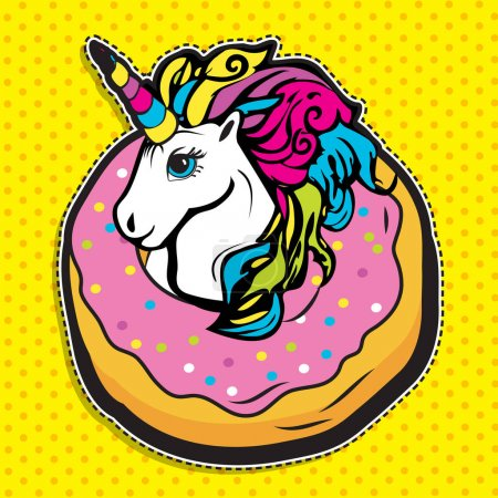 Illustration for Pop art fashion chic cute magic UNICORN IN DONUT patch, badge, pin or sticker. vector illustration. - Royalty Free Image