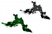 Hormozgan Province (Provinces of Iran Islamic Republic of Iran Persia) map is designed cannabis leaf green and black Hormozgan map made of marijuana (marihuanaTHC) foliag