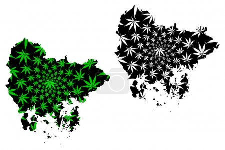 Illustration for South Gyeongsang Province (South Korea, Republic of Korea, ROK) map is designed cannabis leaf green and black, South Gyeongsang map made of marijuana (marihuana,THC) foliage - Royalty Free Image