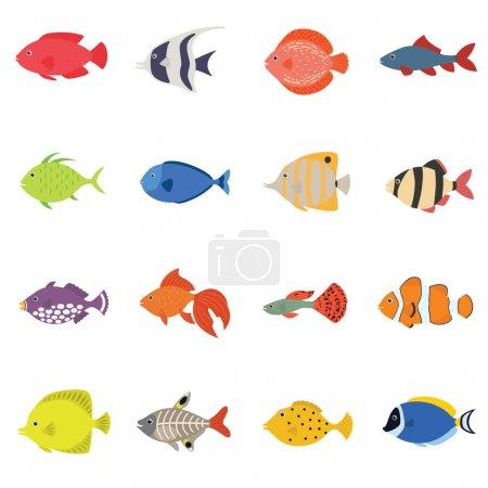 Illustration pour Ensemble d'icônes d'illustration vectorielle de poisson mignon. Illustration vectorielle de style plat. icônes isolées. Poissons tropicaux, marins, aquariums isolés sur fond blanc. Couleur de la mer design plat - image libre de droit