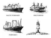 Set cargo ship reefers lighthouse