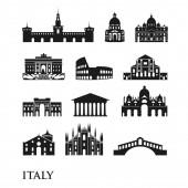 Set of Italy symbols landmarks in black and white Vector illustration Rome Venice Milan Italy