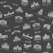 Seamless pattern of Italy Building landmarks of sities Silhouette travel icons
