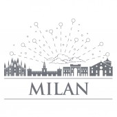 Panorama of the badges icons symbols of Italy Objects are noble gray color City of Milan