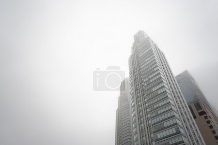 Downtown skyscrapers under the fog