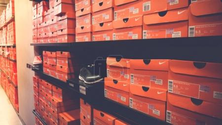 SEPANG,MALAYSIA - MAR 23, 2017: Background of stacked Nike shoes boxes at Mitsui Outlet Park KLIA Sepang shopping mall Kuala Lumpur city for tourist shopping with low price.