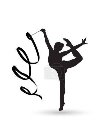 Gymnast Girl silhouette with ribbon isolated on white background. Rhythmic Gymnastic young girl Isolated. Gym kids. Olympic athlete gymnastic. Gymnastic Ribbon Vector. Artistic gymnastics, ballet, yoga, gym, fitness sports