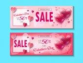 Nápis-výprodej sleva pro valentinky den nastavit. Vektor šablona. Speciální nabídka plakát s balónky srdce, cenovky, slavnostní pozadí. Láska, plakát, banner, kupónu, voucheru, cenovka. Sada typografie dárkové karty reklamní poutače