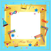 Happy Purim festival frame. Purim Jewish Holiday decorative poster with traditional hamantaschen cookies, toy grogger noisemaker, carnival mask, crown, festive confetti background. Holiday decoration, template poster, banner, brochure, flyer, invitat