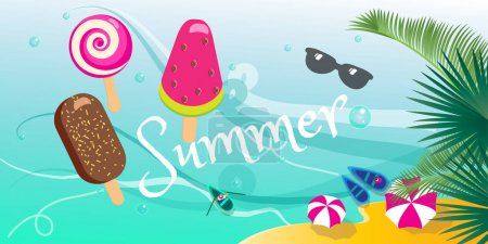 Summer sale banner. Summer tropical poster, ice cream, sea beach, sun, palm leaves beautiful background. Top view Vector illustration.Tasty colorful ice cream set.