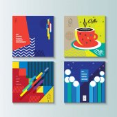 Pop Art brochure cover modern design template set Futuristic abstract cover poster wallpaper flyer Exhibition catalog background Vector Abstract geometric dynamic shapes lines Memphis style Graphic concept layout brochure covers logo