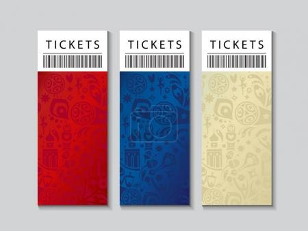 2018 FIFA WORLD CUP RUSSIA soccer Abstract football tournament tickets template background, dynamic texture modern concept banner Vector world cup competition. Championship soccer wallpaper, gift card, voucher, coupon set cover, Russian folk art fifa