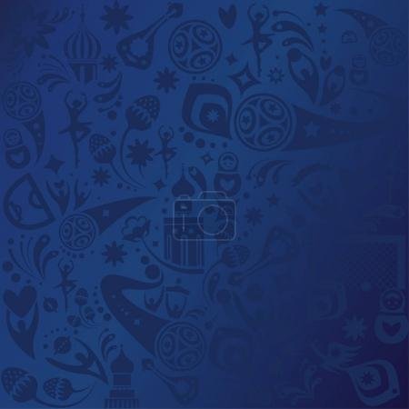 2018 FIFA world cup blue pattern Football Russia World Cup Abstract football tournament tickets template background dynamic texture modern concept banner Vector world cup competition. Championship soccer wallpaper, Russian folk art elements pattern