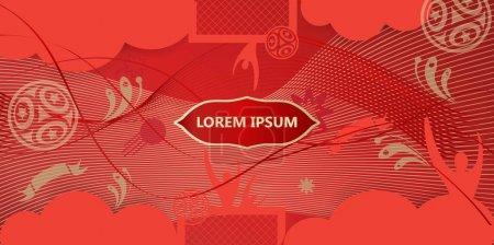2018 FIFA Russian World Cup Soccer Abstract football tournament football template red background dynamic texture modern concept banner Vector world cup competition. Championship soccer wallpaper, voucher, coupon, brochure, cover Russian folk art sign