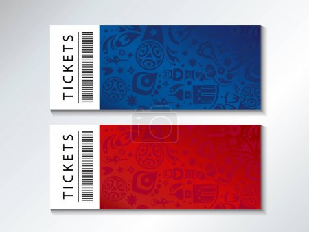 2018 World Cup Russia Football FIFA Abstract football tournament ticket template red blue background, dynamic texture modern concept banner Vector world cup competition. Championship soccer wallpaper, voucher coupon Russian folk art elements pattern