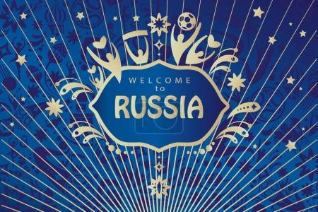 Welcome to Russia abstract banner vector template. 2018 World Cup Russia football poster concept modern design wallpaper. World cup 2018 fifa Tickets concept design, sport, travel, symbols, fireworks. Advertising, t-shirt, printed tee. graphic tee.