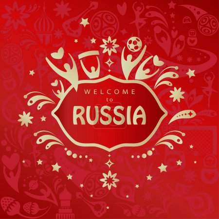 2018 World Cup Russia football, Welcome to Russia abstract invitation banner vector template. Russian folk art background with sports elements, soccer ball, award symbols, red pattern. 2018 FIFA world cup tournaments wallpaper, print, t-shirt, logo
