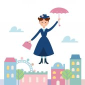 Baby Sitter Mary Poppins Flying Over the Town Vector Illustration