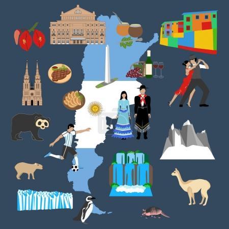 Illustration for Argentina travel illustration on the blue background. Vector illustration - Royalty Free Image